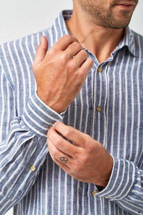 Camisa-Linho-100--Listrada---Marinho