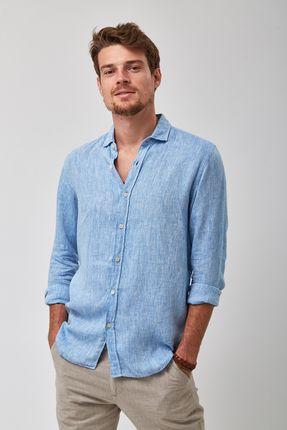 Camisa-100--Linho-Mescla---Azul---Tamanho-P