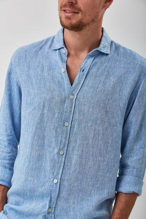 Camisa-100--Linho-Mescla---Azul---Tamanho-G