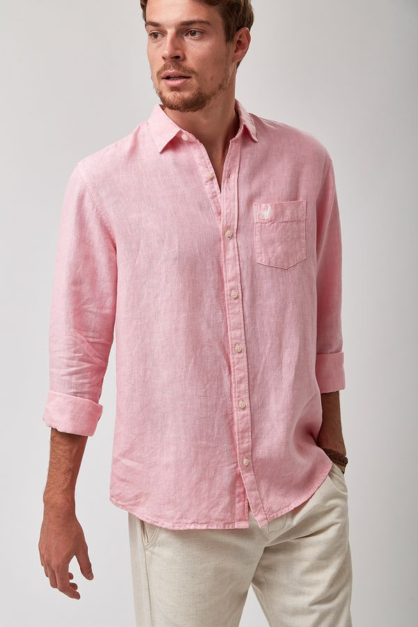 Camisa-100--Linho-Tinturado---Rosa---Tamanho-GG