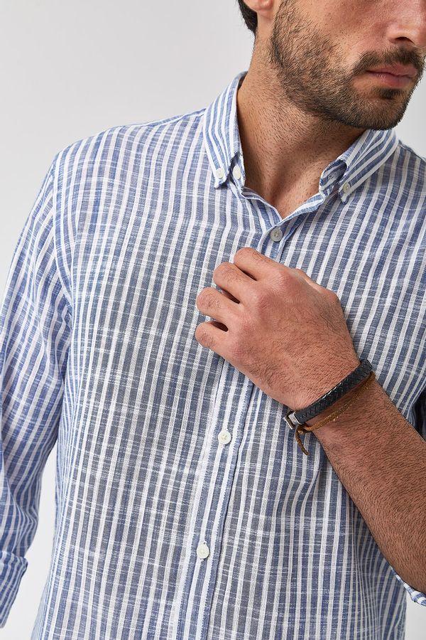 Camisa-Listrada-Leve---Branco-Com-Marinho---Tamanho-P