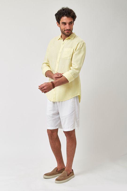 Camisa-100--Linho-Tinturado---Amarelo---Tamanho-G