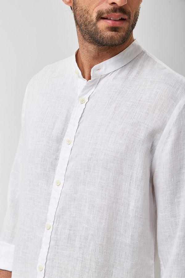 Camisa-Gola-Padre-100--Linho---Branco---Tamanho-G