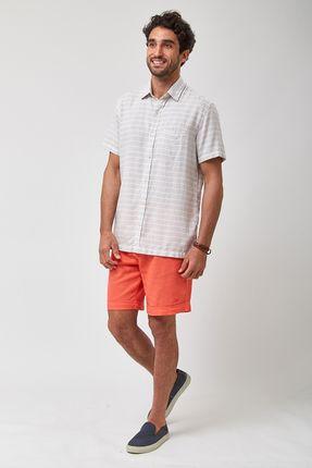 Camisa-MC-Listrada-Horizontal---Cru-Com-Cinza---Tamanho-M