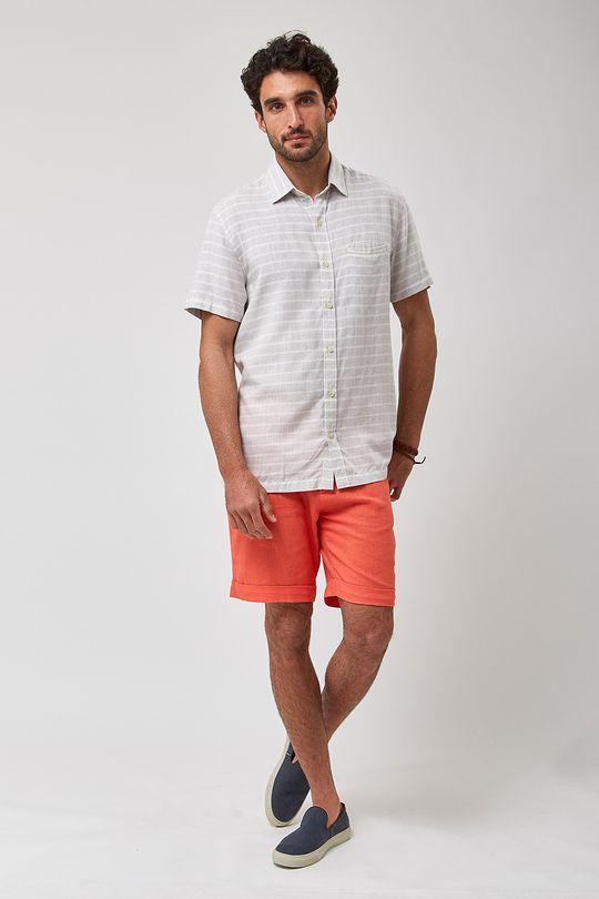 Camisa-MC-Listrada-Horizontal---Cru-Com-Cinza---Tamanho-P