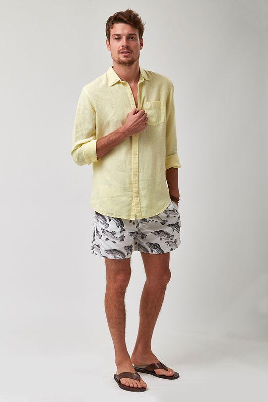Camisa-100--Linho-Tinturado---Amarelo---Tamanho-P