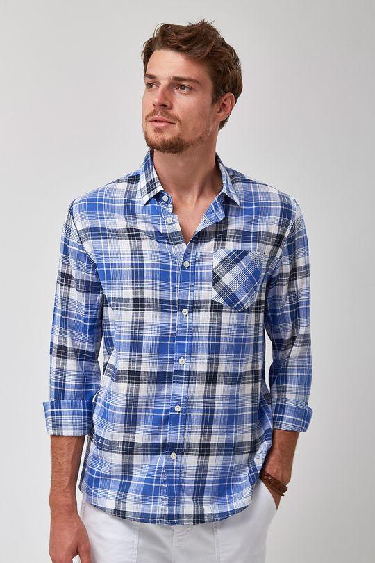 Camisa-Madras-Leve---Azul---Tamanho-P