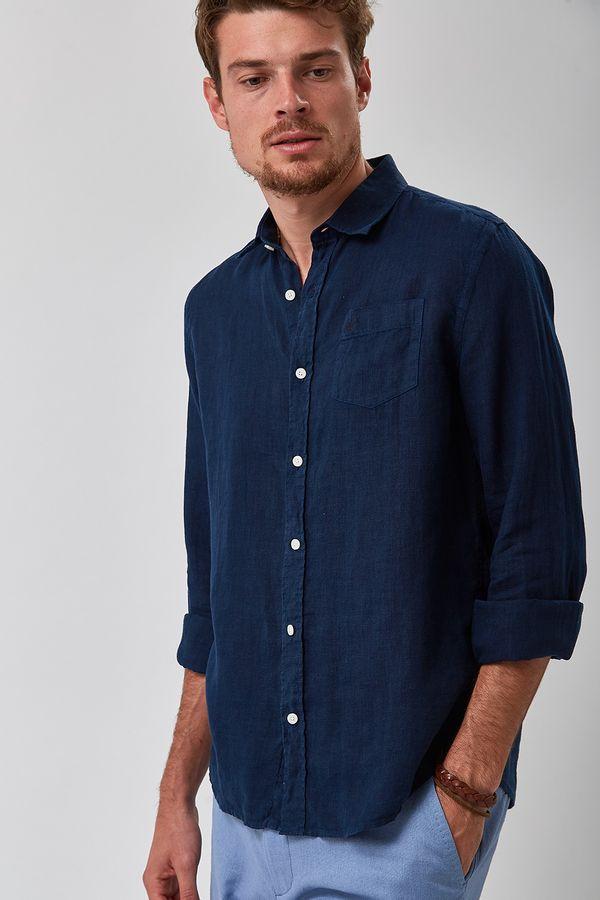 Camisa-100--Linho-Tinturado---Marinho---Tamanho-P