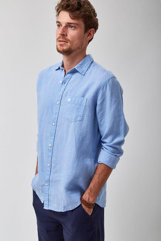 Camisa-100--Linho-Tinturado---Azul-Ceu---Tamanho-P