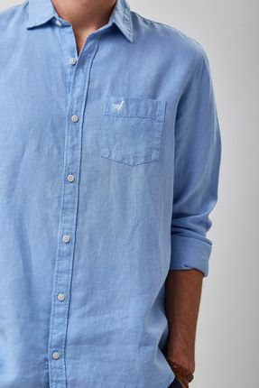Camisa-100--Linho-Tinturado---Azul-Ceu---Tamanho-M