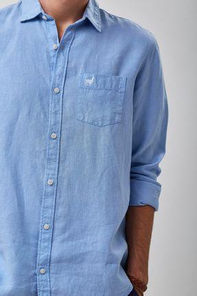 Camisa-100--Linho-Tinturado---Azul-Ceu---Tamanho-G