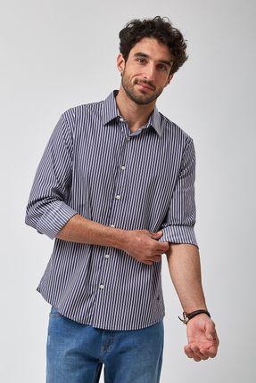 Camisa-Listrada-Escura---Branco-Com-Marinho---Tamanho-M