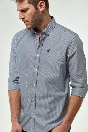 Camisa-Tricoline-Listrado---Marinho-Branco---Tamanho-P