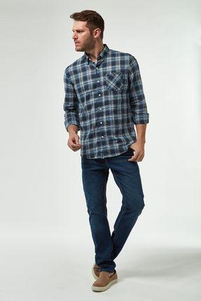 Camisa-Xadrez-Leve---Azul-E-Khaki---Tamanho-P