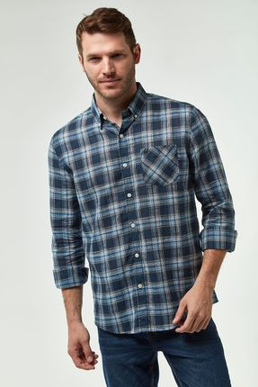 Camisa-Xadrez-Leve---Azul-E-Khaki---Tamanho-M