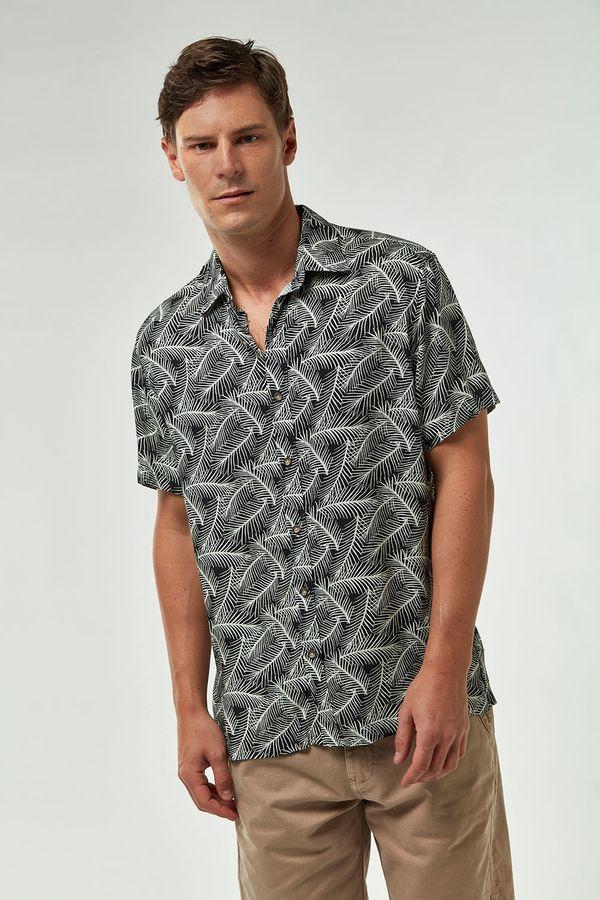 Camisa-MC-Viscose-Estampada---Preto-Cru---Tamanho-G