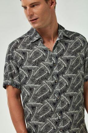 Camisa-MC-Viscose-Estampada---Preto-Cru---Tamanho-P
