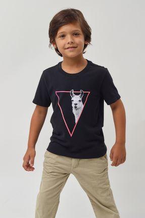 Camiseta-Lhama-Crepe-Boys---Preto---Tamanho-4