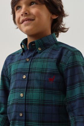 Camisa-Flanela-Xadrez-Boys---Marinho-Verde---Tamanho-8