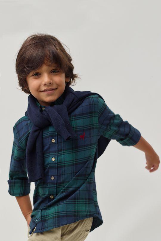 Camisa-Flanela-Xadrez-Boys---Marinho-Verde---Tamanho-6