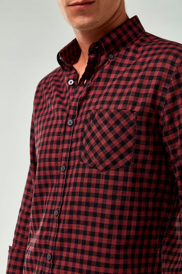 Camisa-Vichy-Leve---Vermelho-Preto---Tamanho-P