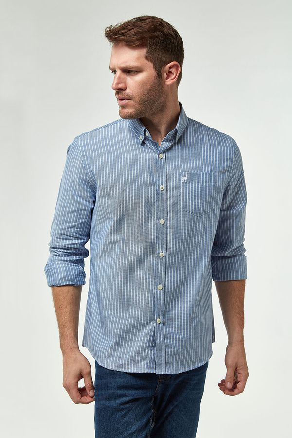 Camisa-Oxford-Listrada---Azul-C-Branco---Tamanho-P