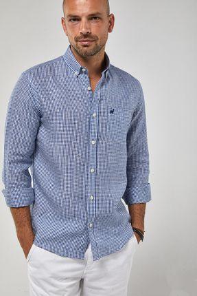 Camisa-ML-100--Linho-Mini-Vichy---Branco-Azul-Royal