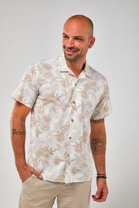 Camisa-Mc-Folhagem---Branco-Khaki---Tamanho-M