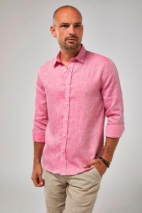 Camisa-ML-100--Linho-Mescla---Rosa-Forte---Tamanho-P