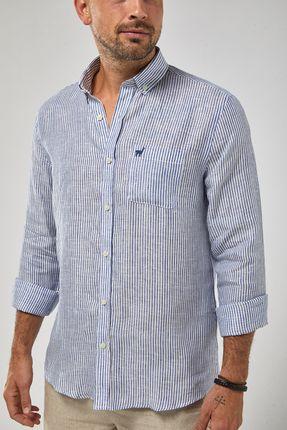 Camisa-Ml-100--Linho-Mini-Listra---Branco-Azul-Royal---Tamanho-P