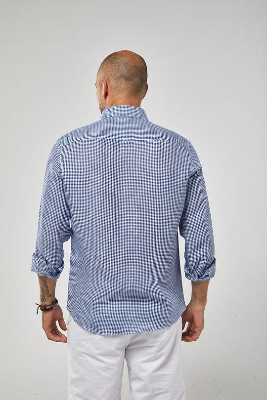 Camisa-ML-100--Linho-Mini-Vichy---Branco-Azul-Royal---Tamanho-P