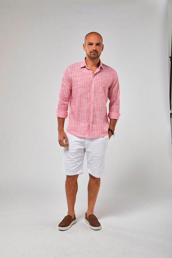 Camisa-Listra-Dupla-Leve---Rosa-Forte-Branco---Tamanho-M