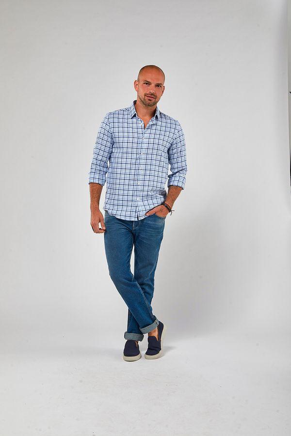 Camisa-ML-Oxford-Xadrez---Branco-Com-Azul---Tamanho-M