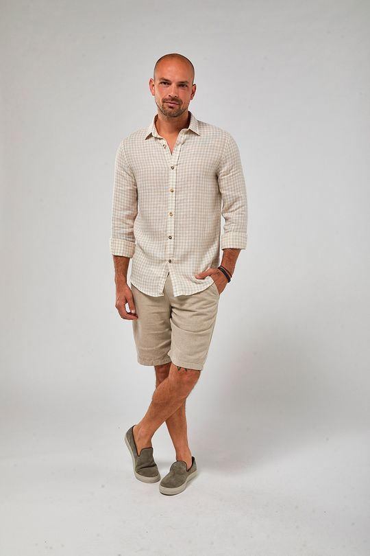 Camisa-ML-100--Linho-Vichy---Branco-Khaki---Tamanho-P