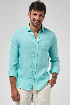 Camisa-ML-100--Linho-Tinturado---Verde-Piscina---Tamanho-P