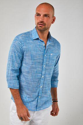 Camisa-ML-Listra-Fina-Leve---Azul-Com-Branco---Tamanho-M