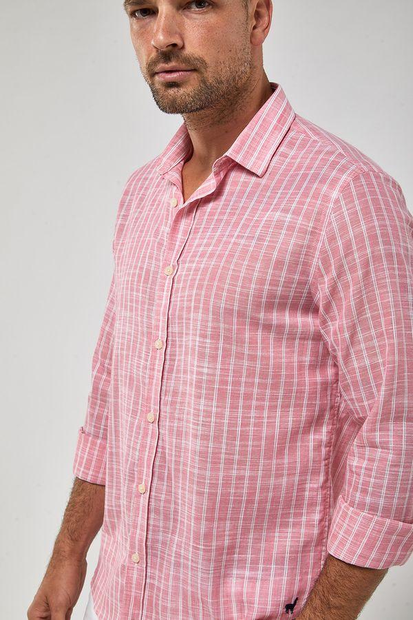 Camisa-Listra-Dupla-Leve---Rosa-Forte-Branco---Tamanho-P