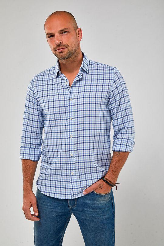 Camisa-ML-Oxford-Xadrez---Branco-Com-Azul---Tamanho-P