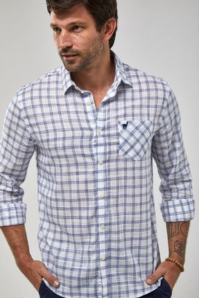 Camisa-ML-Xadrez-Leve---Branco-Com-Azul---Tamanho-X