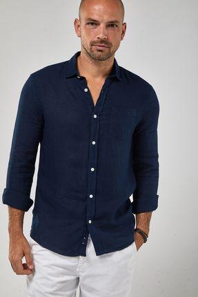 Camisa-ML-100--Linho-Tinturado---Marinho---Tamanho-P