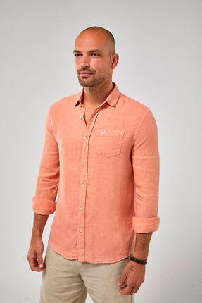 Camisa-ML-100--Linho-Tinturado---Papaya---Tamanho-P