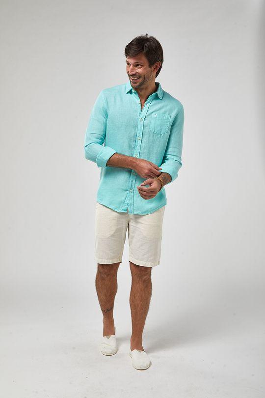 Camisa-ML-100--Linho-Tinturado---Verde-Piscina---Tamanho-G
