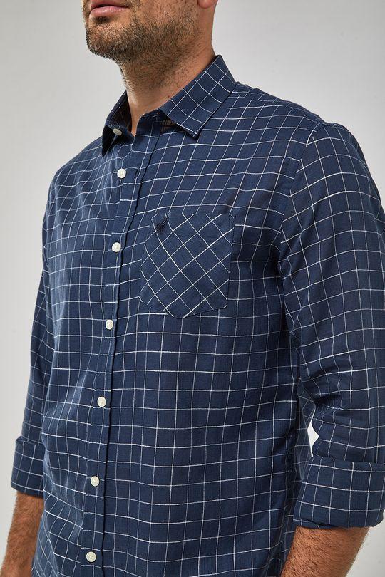Camisa-ML-Quadrados-Leve-21---Marinho-Branco---Tamanho-P