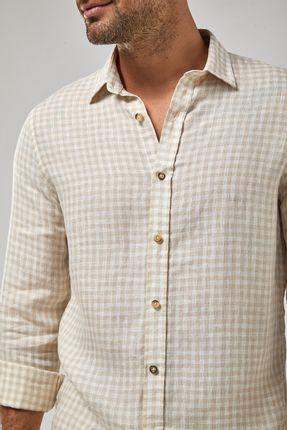 Camisa-ML-100--Linho-Vichy---Branco-Khaki---Tamanho-M
