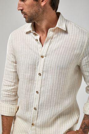 Camisa-ML-100--Linho-Listra---Branco-Khaki---Tamanho-P
