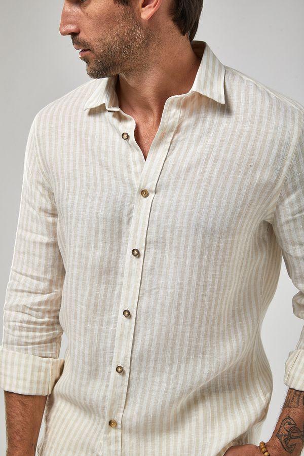 Camisa-ML-100--Linho-Listra---Branco-Khaki---Tamanho-GG