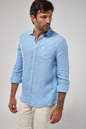 Camisa-ML-100--Linho-Tinturado---Azul-Claro---Tamanho-GG