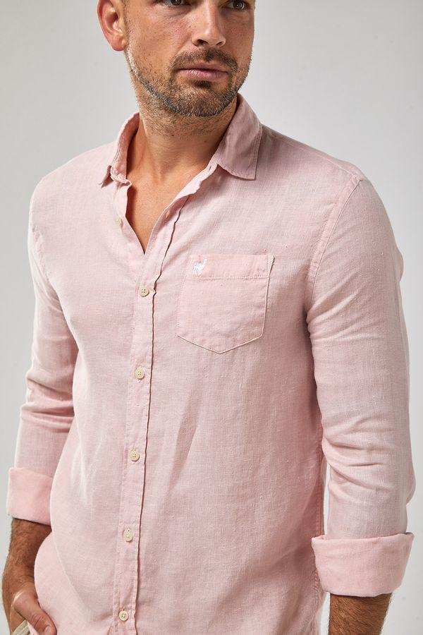 Camisa-ML-100--Linho-Tinturado---Rosa-Claro---Tamanho-GG