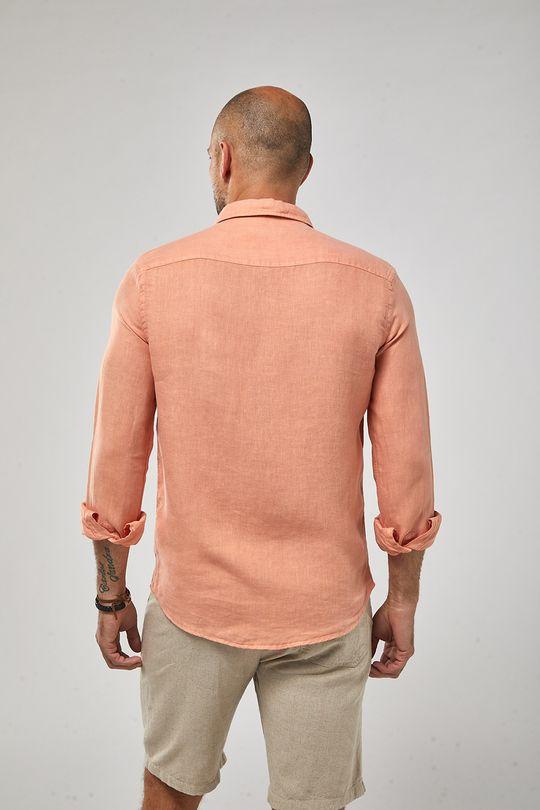 Camisa-ML-100--Linho-Tinturado---Papaya---Tamanho-M
