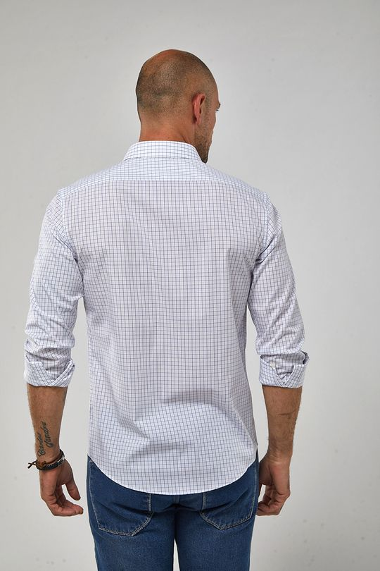 Camisa-ML-Tricoline-Quadrados---Branco-Com-Azul---Tamanho-P